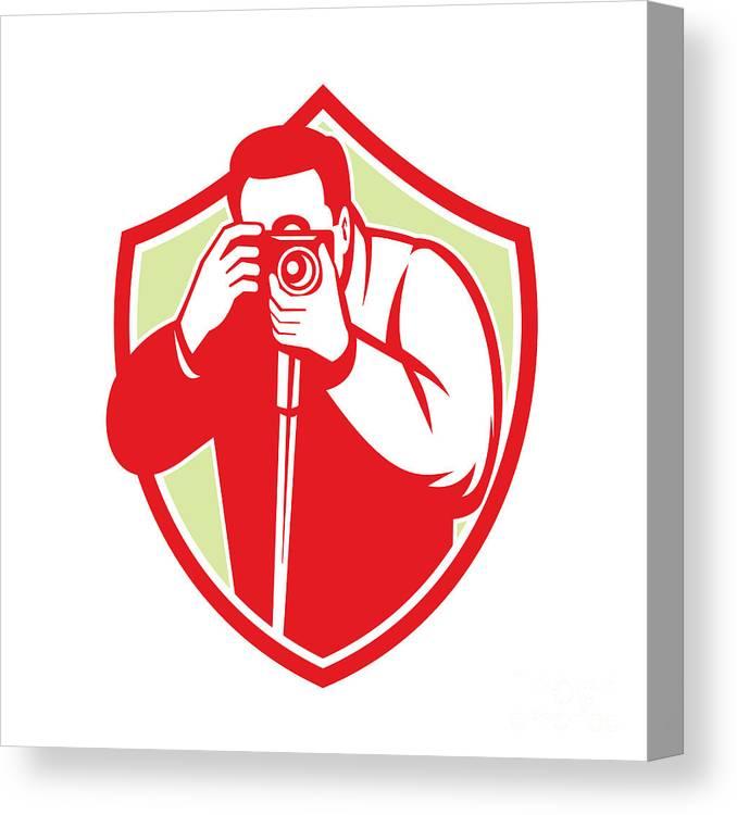 Photographer Canvas Print featuring the digital art Photographer Shooting Camera Shield Retro by Aloysius Patrimonio