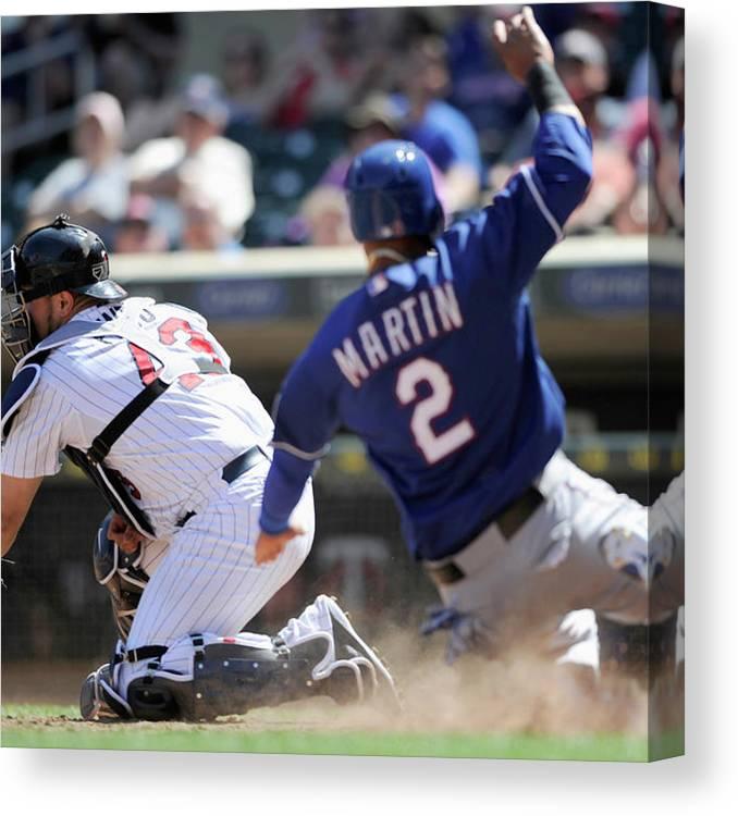 American League Baseball Canvas Print featuring the photograph Texas Rangers V Minnesota Twins 4 by Hannah Foslien
