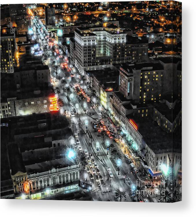 New Orleans Canvas Print featuring the photograph A Gothic Night In New Orleans On Canal Street by Kathleen K Parker