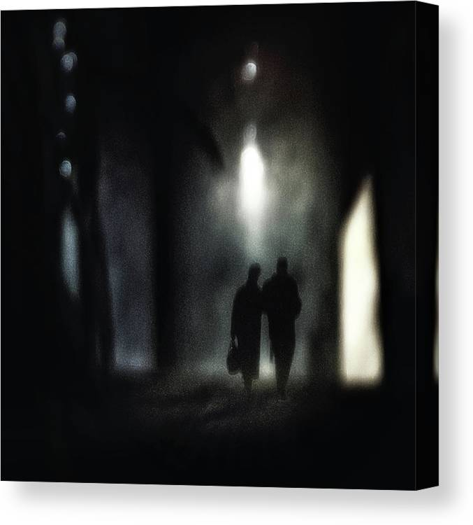 People Canvas Print featuring the photograph A Very Long Walk Together by Piet Flour