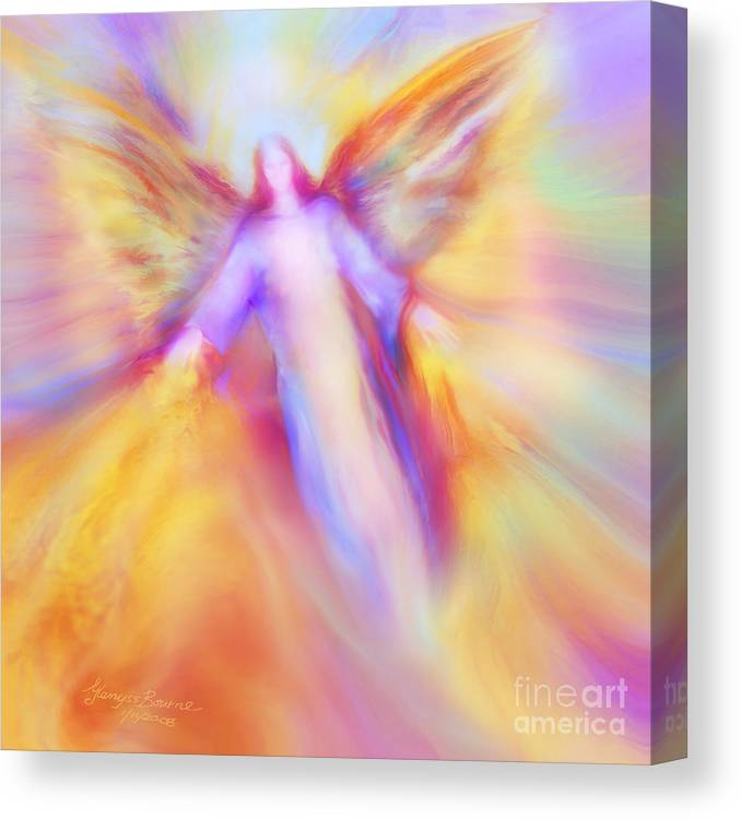 Archangel Uriel Canvas Print featuring the painting Archangel Uriel In Flight by Glenyss Bourne