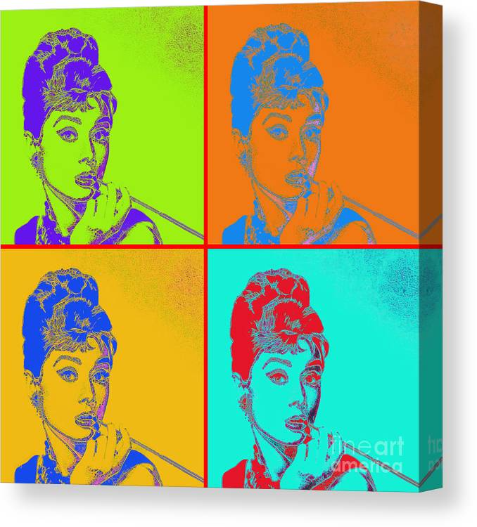 Wingsdomain Canvas Print featuring the photograph Audrey Hepburn 20130330v2 Four by Wingsdomain Art and Photography