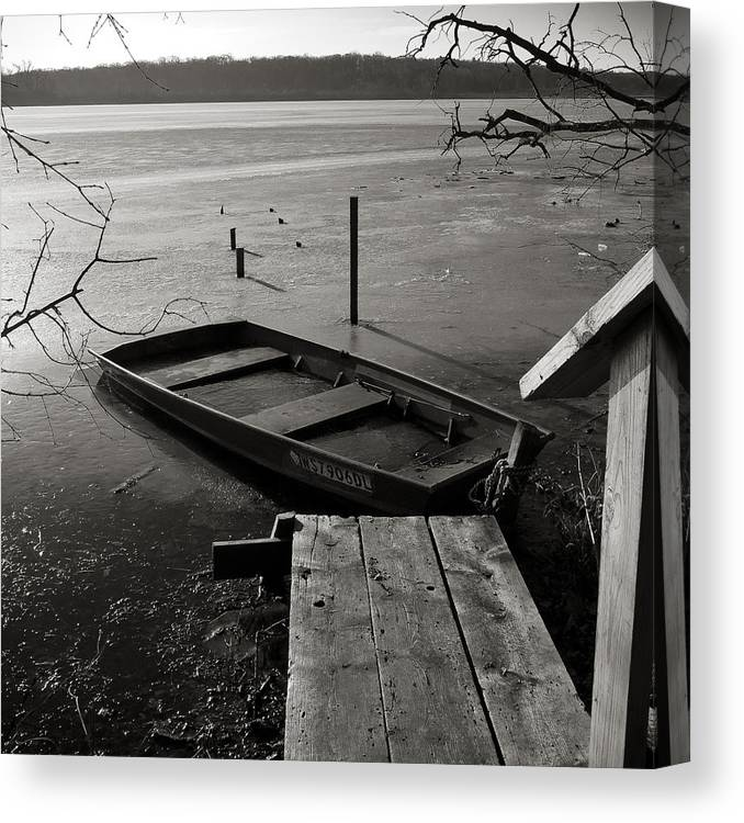 Wingra Canvas Print featuring the photograph Boat In Ice - Lake Wingra - Madison - Wi by Steven Ralser
