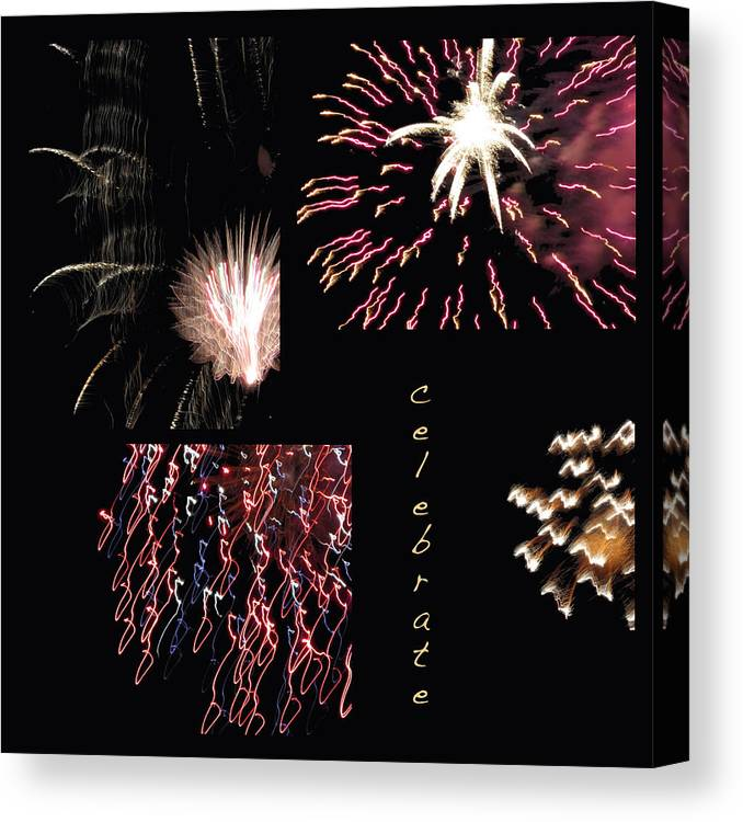 Collage Canvas Print featuring the photograph Celebrate by Mary Bedy