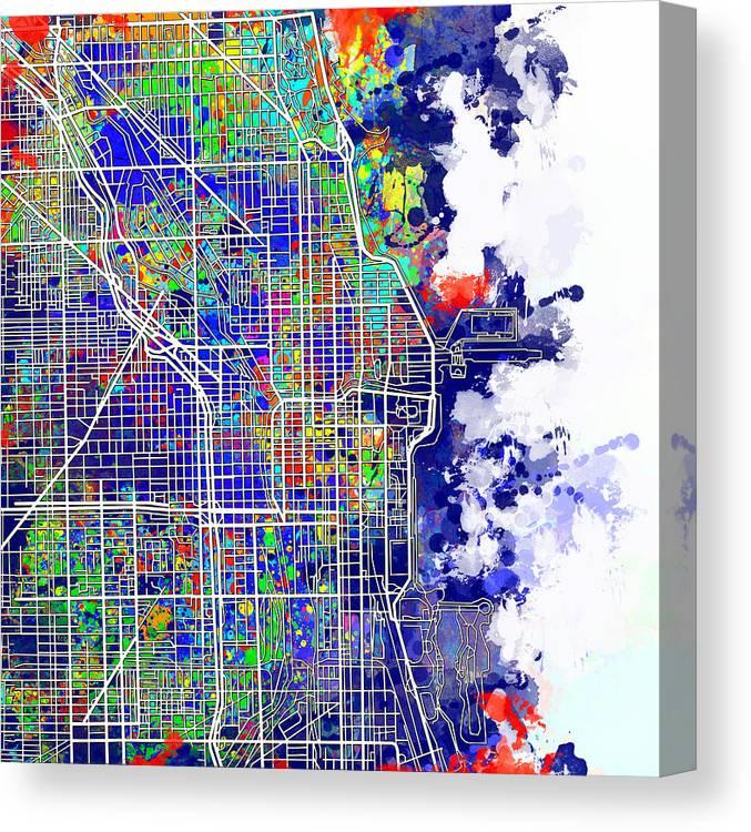 Chicago Map Canvas.Chicago Map Color Splash Canvas Print Canvas Art By Bekim Art
