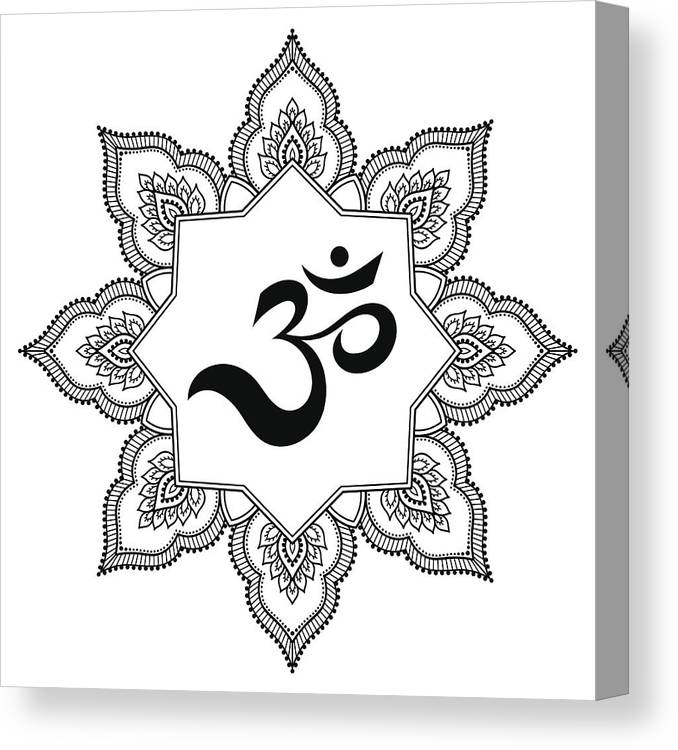 6dc951d31da88 Tranquility Canvas Print featuring the drawing Circular Pattern In The Form  Of A Mandala. Om