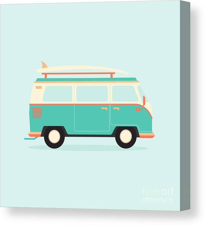 Bus Canvas Print featuring the digital art Color Full Surfer Van. Transportation by Guaxinim
