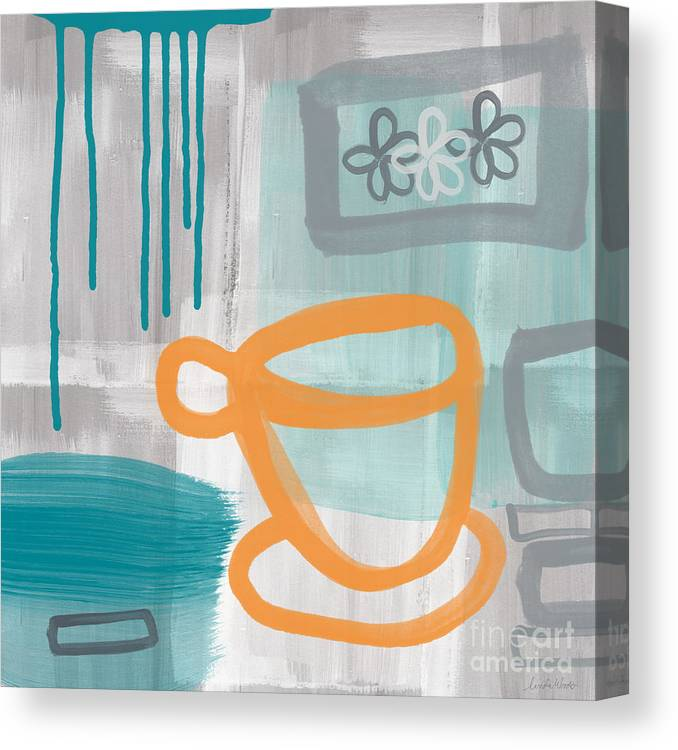 Coffee Canvas Print featuring the painting Cup Of Happiness by Linda Woods