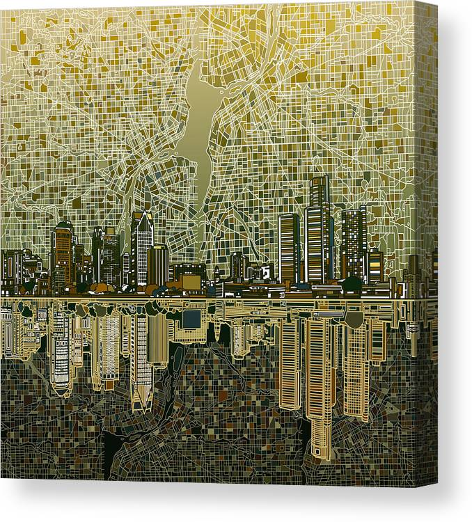 Detroit Skyline Abstract 4 Canvas Print