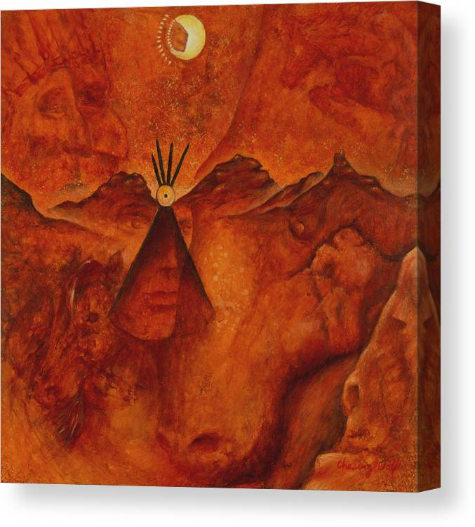 Native American Canvas Print featuring the painting Doorways by Kevin Chasing Wolf Hutchins