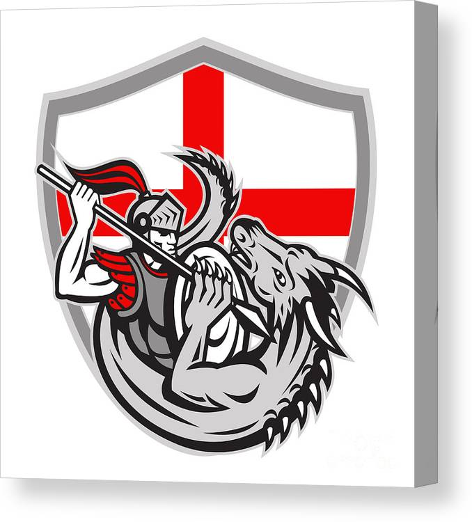 English Knight Fighting Dragon England Flag Shield Retro Canvas Print