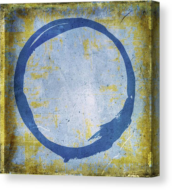 Blue Canvas Print featuring the painting Enso No. 109 Blue On Blue by Julie Niemela