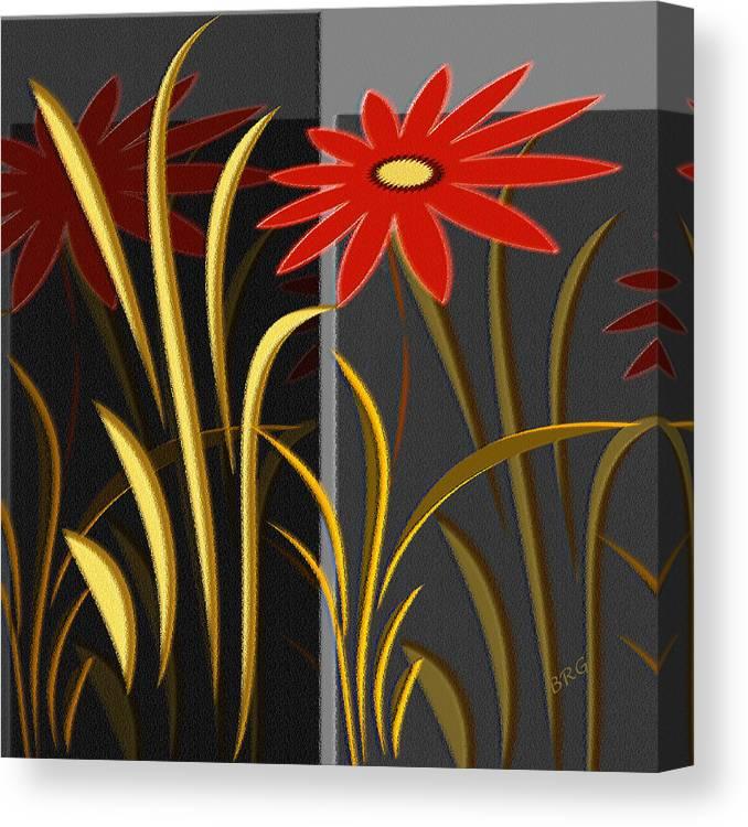 Floral Abstract Canvas Print featuring the digital art Garden by Ben and Raisa Gertsberg