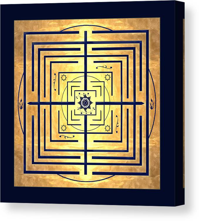 Labyrinth Canvas Print featuring the digital art Golden Knowledge Labyrinth by Deborah Smith