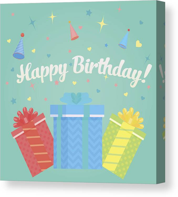 Event Canvas Print Featuring The Drawing Happy Birthday Greeting Card With Gifts And Confetti Concept
