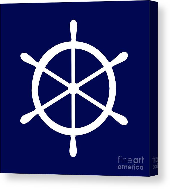 Graphic Art Canvas Print featuring the photograph Helm In White And Navy Blue by Jackie Farnsworth