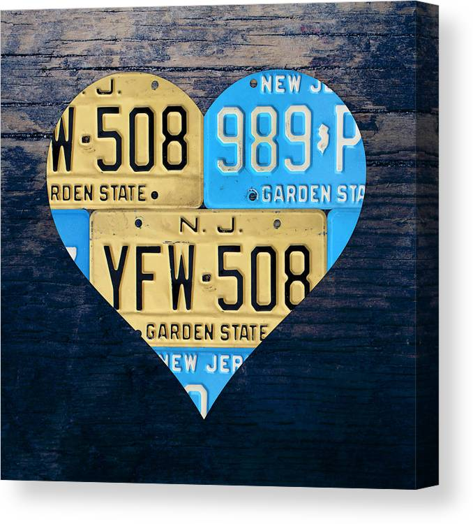 I Heart Canvas Print featuring the mixed media I Heart New Jersey State Love Recycled Vintage License Plate Art by Design Turnpike