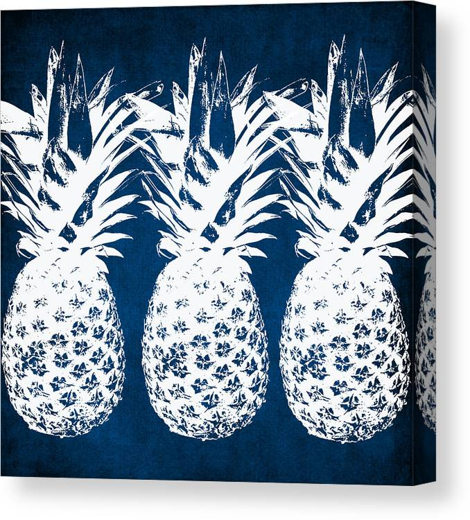 Indigo Canvas Print featuring the painting Indigo And White Pineapples by Linda Woods