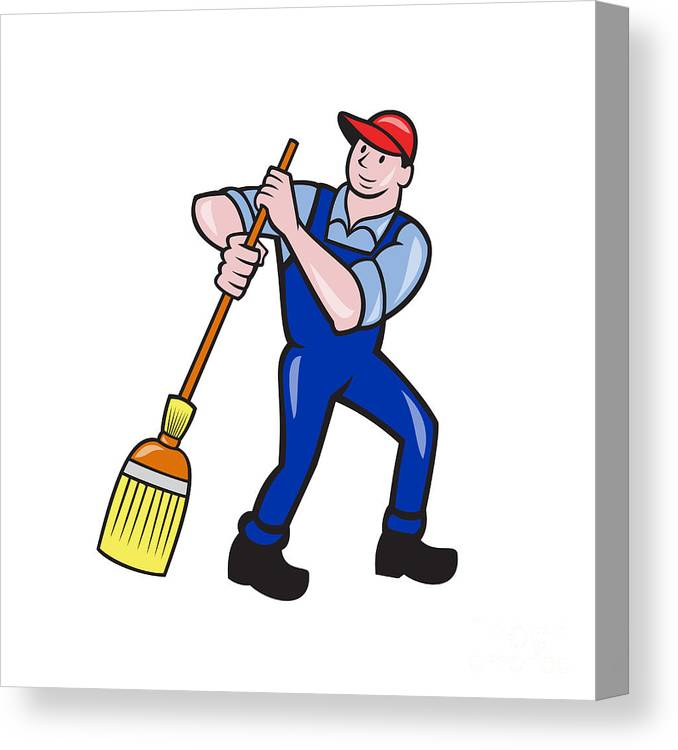 Janitor Cleaner Sweeping Broom Cartoon Canvas Print