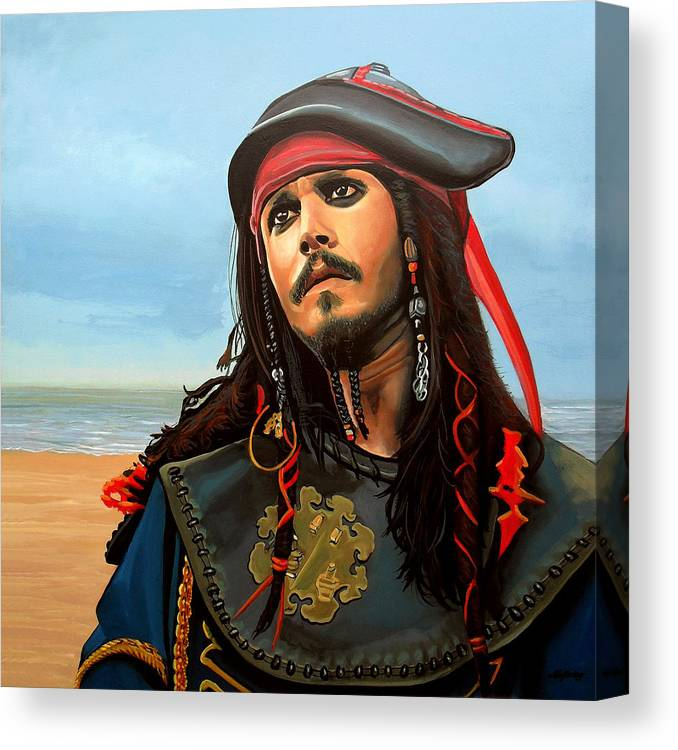 Johnny Depp Canvas Print featuring the painting Johnny Depp As Jack Sparrow by Paul Meijering