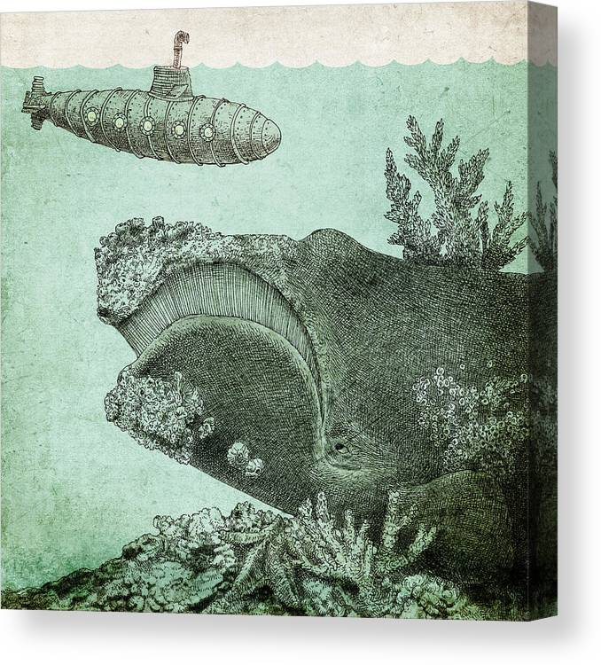 Submarine Canvas Print featuring the drawing Leviathan by Eric Fan