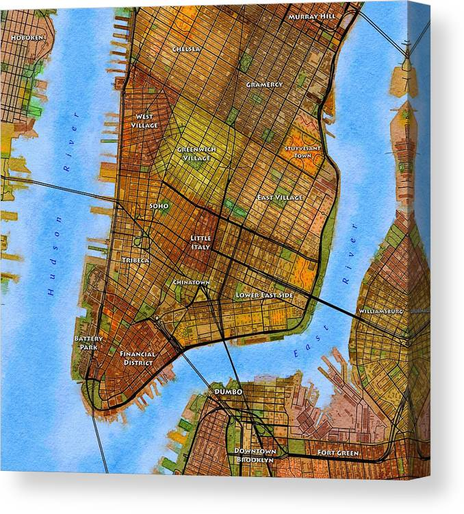Lower Manhattan Map Canvas Print / Canvas Art by Paul Hein on
