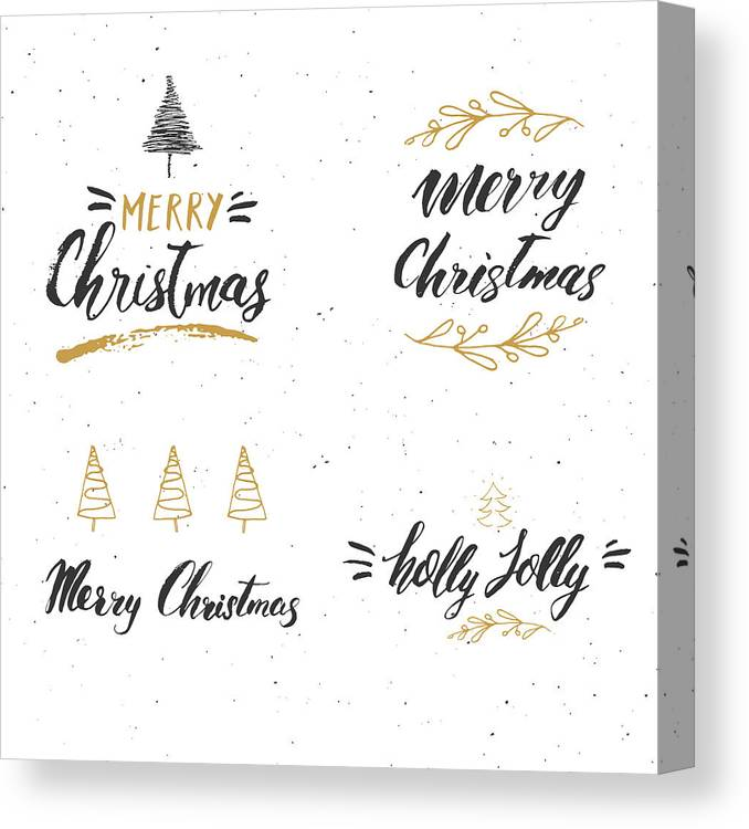 Merry Christmas Calligraphy.Merry Christmas Calligraphic Letterings Set Typographic Greetings Design Calligraphy Lettering For Holiday Greeting Hand Drawn Lettering Text