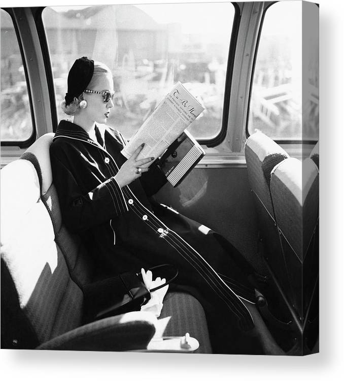 Personality Canvas Print featuring the photograph Mrs. William Mcmanus Reading On A Train by Leombruno-Bodi