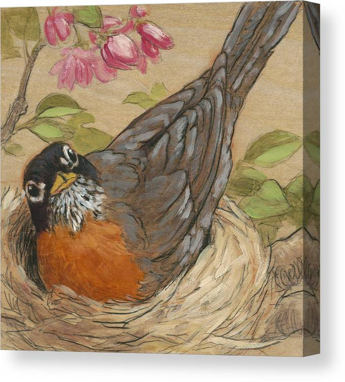Robin Canvas Print featuring the painting Nesting Robin by Tracie Thompson