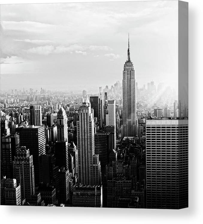 Lower Manhattan Canvas Print featuring the photograph Nyc Skyline.black And White by Lisa-blue