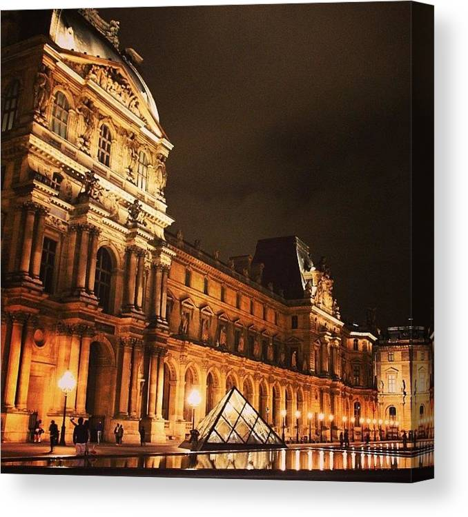 Urban Canvas Print featuring the photograph #paris #france #louvre #night by Luisa Azzolini