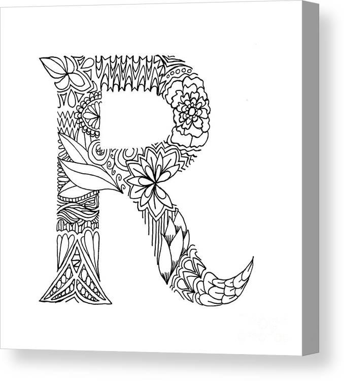 Letter Art Print.Patterned Letter R Canvas Print