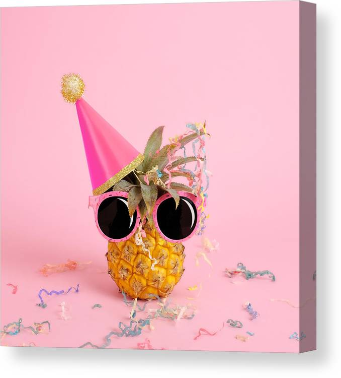 Celebration Canvas Print featuring the photograph Pineapple Wearing A Party Hat And by Juj Winn