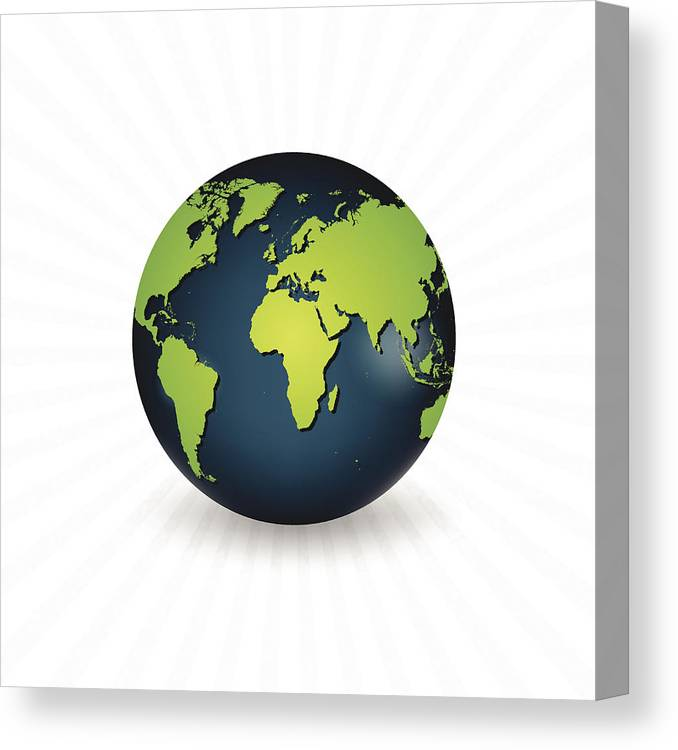 Planet Earth With A Realistic World Map Canvas Print Canvas Art