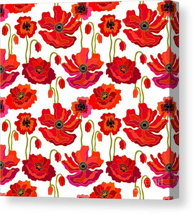 Artsy Canvas Print featuring the digital art Poppies Field. Seamless Vector Pattern by Svetlana Kononova