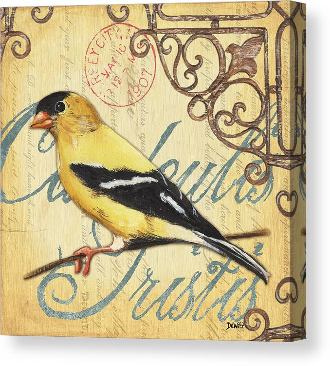 Goldfinch Canvas Print featuring the painting Pretty Bird 3 by Debbie DeWitt