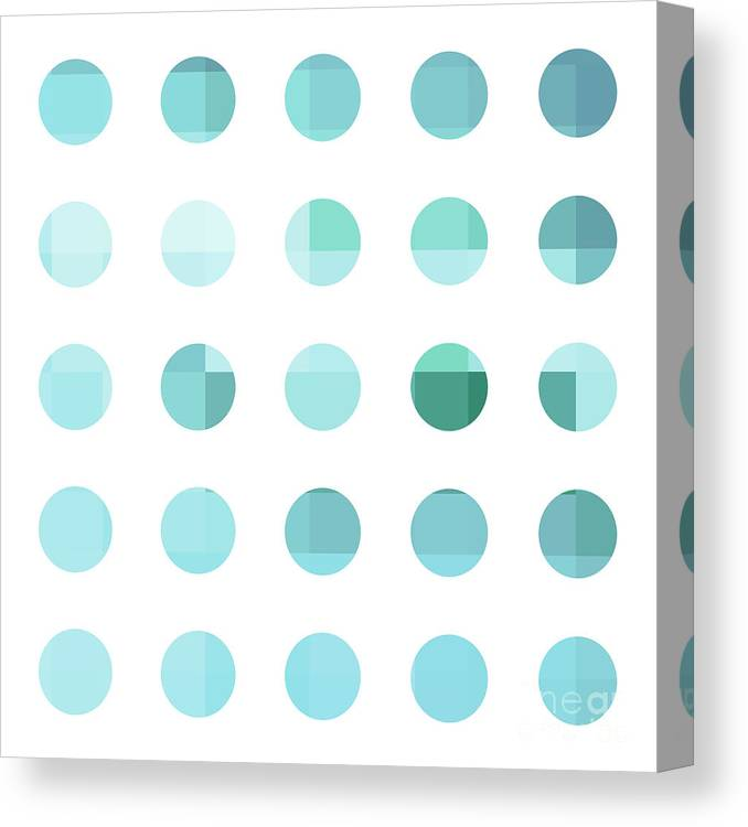 Abstract Canvas Print featuring the painting Rainbow Dots Aqua by Pixel Chimp