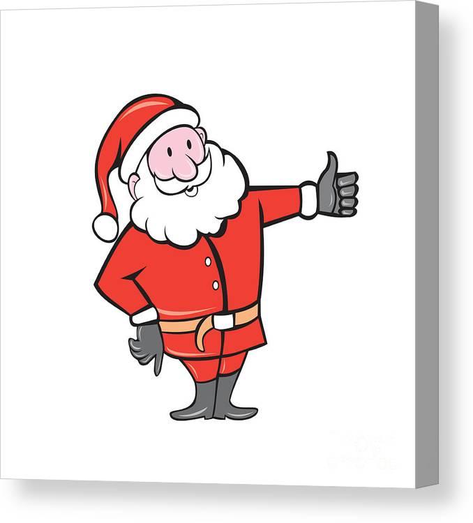 Father Christmas Cartoon Images.Santa Claus Father Christmas Thumbs Up Cartoon Canvas Print