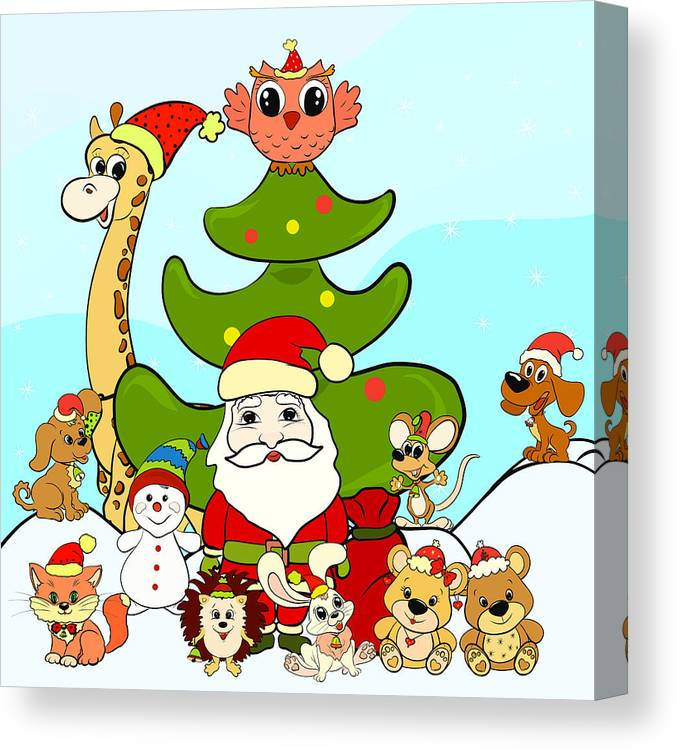 Santa Claus Snowman And Happy Animals Next To The Christmas Tree