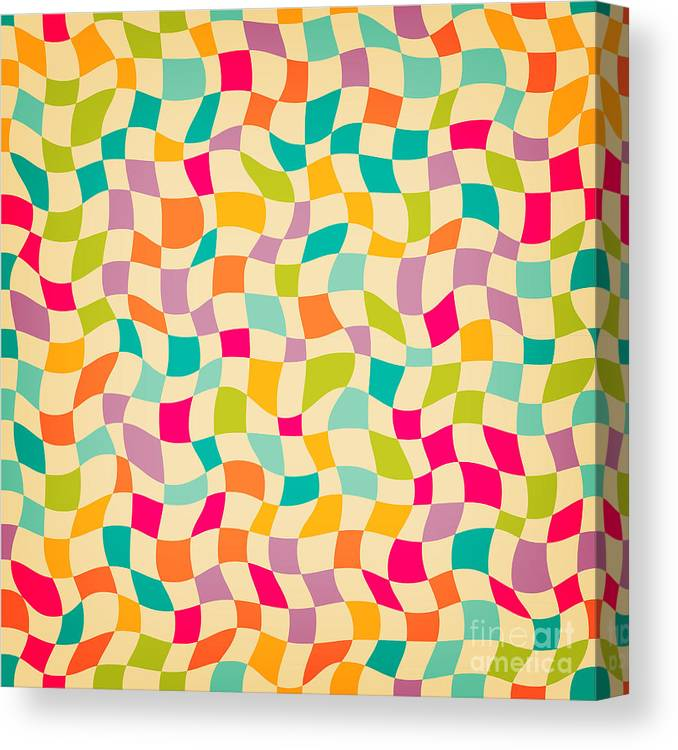 Illustrations Canvas Print featuring the digital art Seamless Color Mosaic Background by New Line