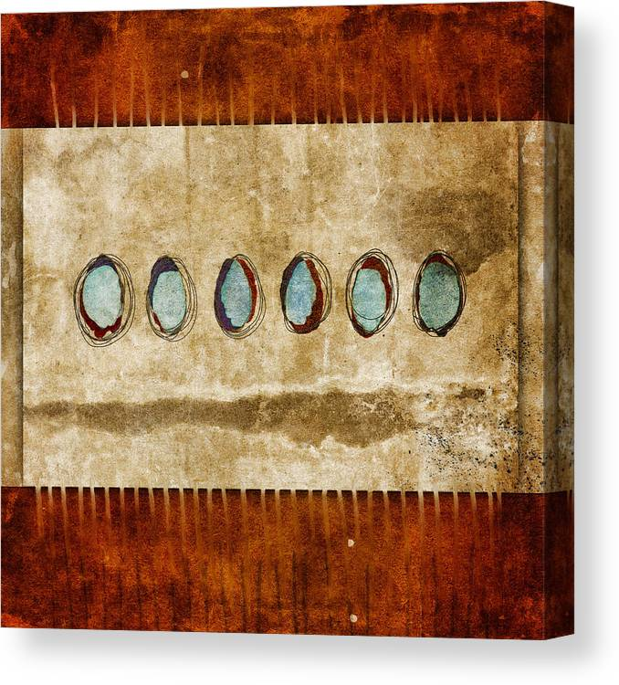 Six Canvas Print featuring the mixed media Six Turquoise Moons by Carol Leigh