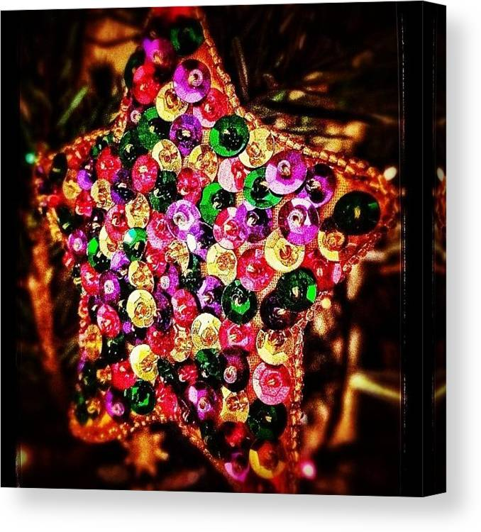 Star Canvas Print featuring the photograph #snapseed #christmas #star #decoration by Mark Thornton