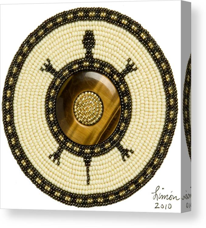 Beadwork Canvas Print featuring the mixed media The Circle Turtle by Douglas K Limon