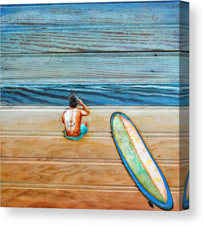 Surfboard Canvas Print featuring the painting The Great Beyond by Danny Phillips