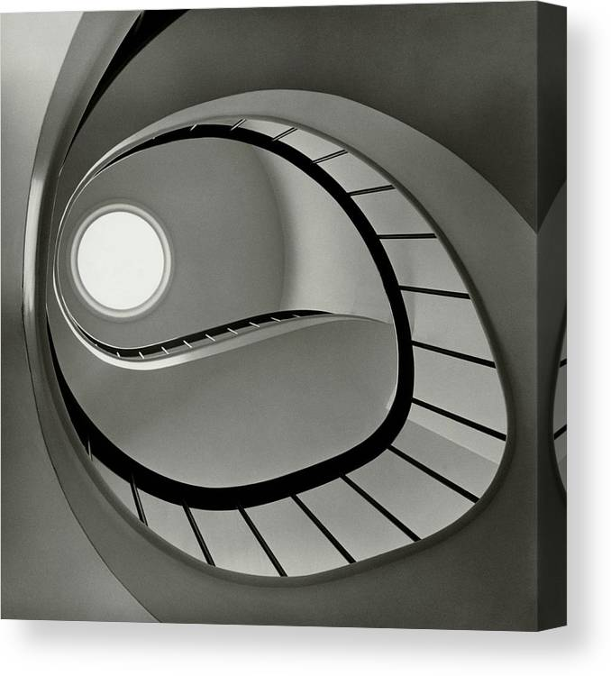 San Francisco Canvas Print featuring the photograph The Staircase In Mr. And Mrs. Albert by Fred Lyon