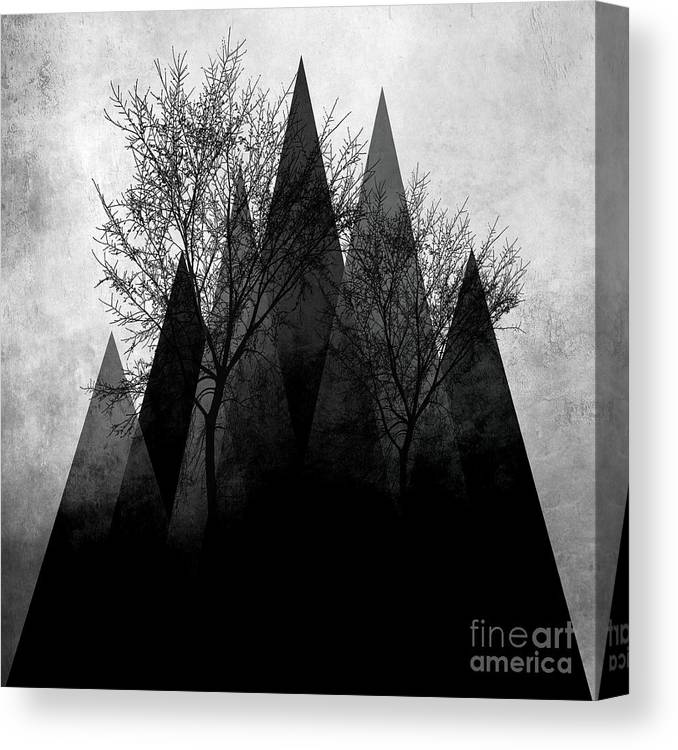 Geometric Canvas Print featuring the mixed media Trees Vi by PIA Schneider