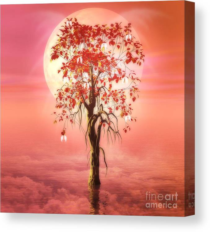 Tree Of Heaven Canvas Print featuring the digital art Where Angels Bloom by John Edwards