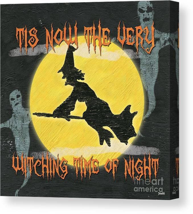 Witches Canvas Print featuring the painting Witching Time by Debbie DeWitt