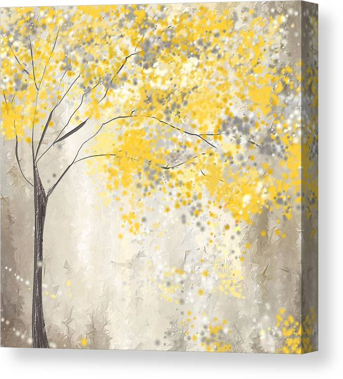 9d86e5fd95a Yellow Canvas Print featuring the painting Yellow And Gray Tree by Lourry  Legarde