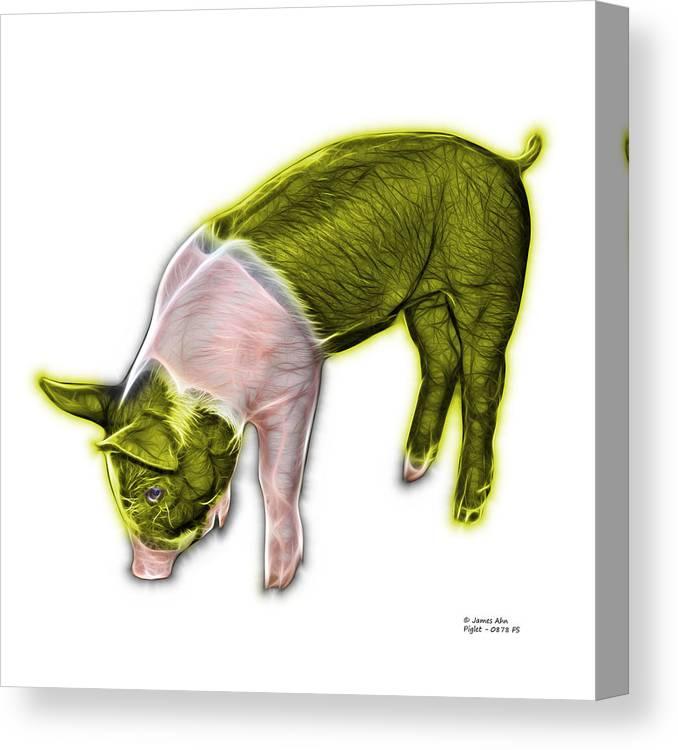 Pig Canvas Print featuring the digital art Yellow Piglet - 0878 Fs by James Ahn